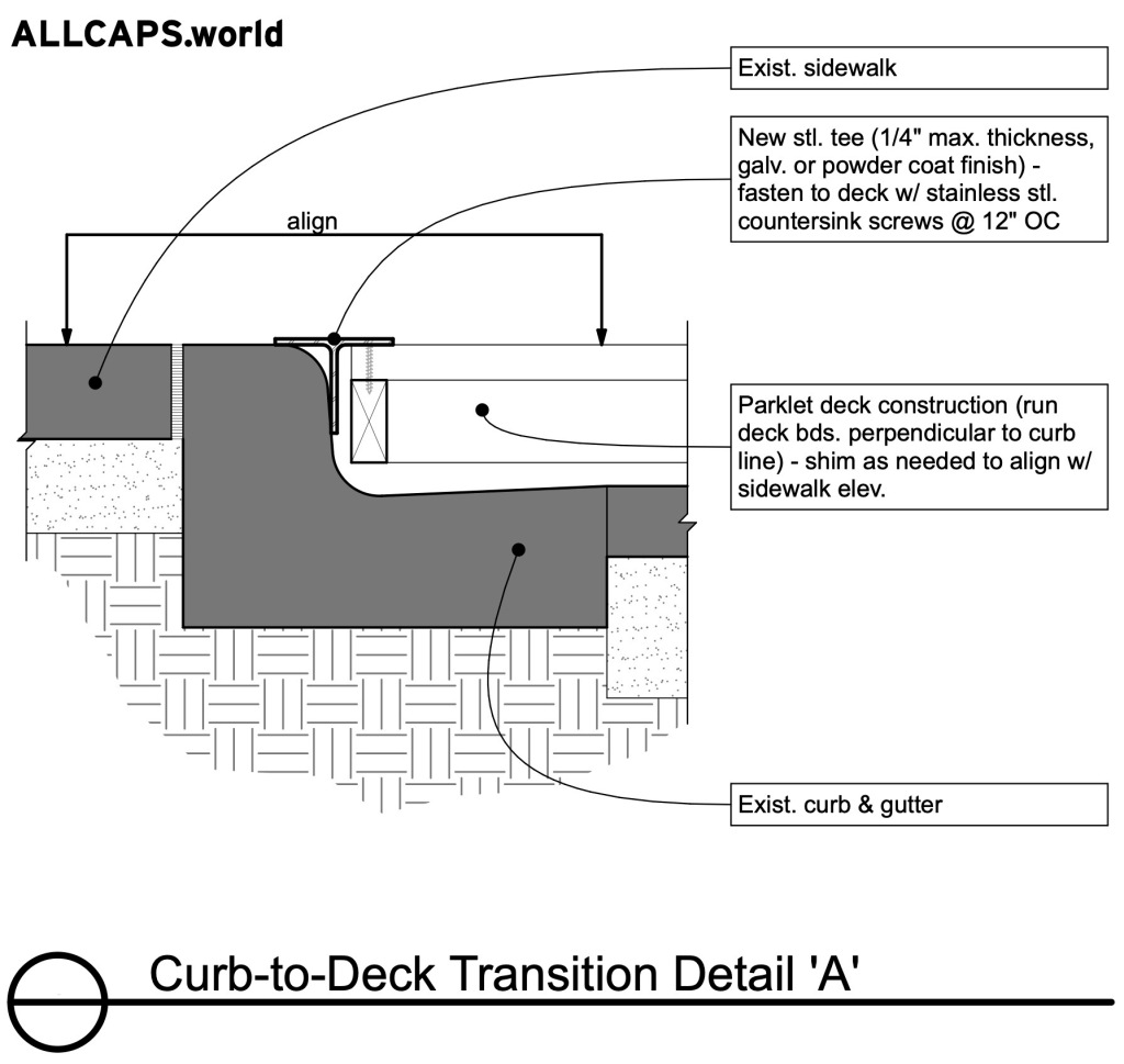 Curb-to-Deck Transition Detail A